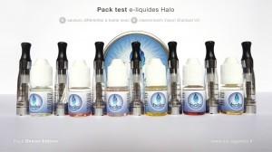 L'ensemble du test pack Halo peut être goûté grâce aux différents clearomizers fournis