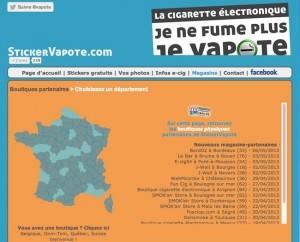La carte de France qui recense exclusivement les boutiques partenaires du Sticker Vapote.