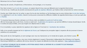 Message d'accueil pour tous les nouveaux inscrits du forum-ecigarette.com