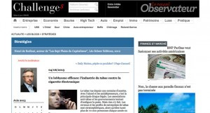 Un lobbysme efficace: l'industrie du tabac contre la cigarette électronique sur Challenges.fr