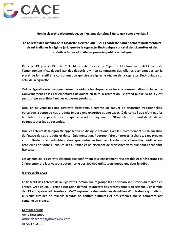 Communiqué de presse du CACE du 13 juin 2013