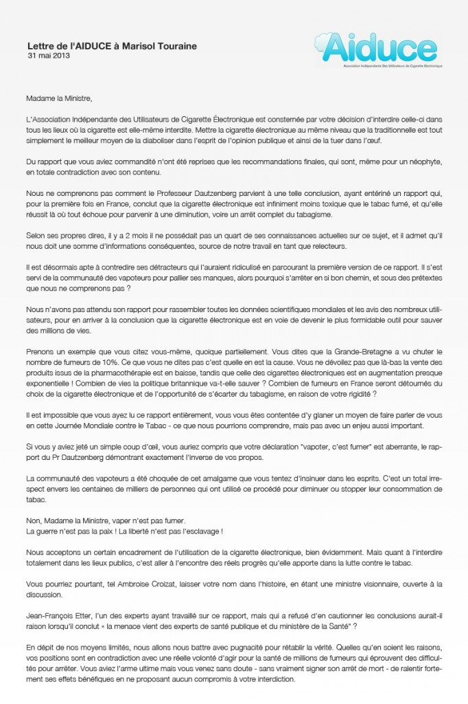 Lettre de l'AIDUCE à Marisol Touraine