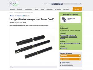"""La cigarette électronique pour fumer """"vert"""" sur greenetvert.fr"""