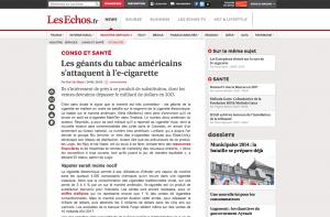 Les géants du tabac américains s'attaquent à l'e-cigarette sur lesechos.fr