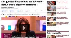 La cigarette électronique est-elle moins nocive que la cigarette classique ? sur allodocteurs.fr