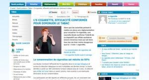 """""""L'e-cigarette, efficacité confirmée pour diminuer le tabac"""" sur e-sante.fr"""