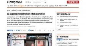 """""""La cigarette électronique fait un tabac"""" sur lexpress.fr"""