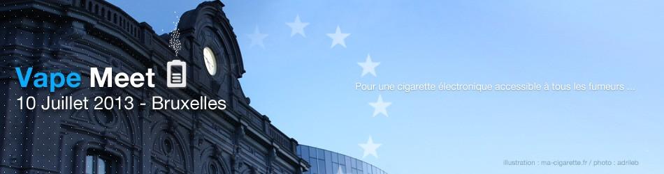 Manifestation pour la défense de la cigarette électronique à Bruxelles devant le parlement européen à 12h30, le 10 juillet 2013.