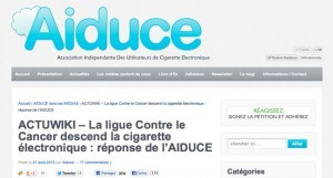 La ligue Contre le Cancer descend la cigarette électronique : réponse de l'AIDUCE.