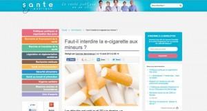Faut-il interdire la e-cigarette aux mineurs ? sur lasantepublique.fr