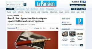 Le Parisien a publié hier soir les conclusions alarmantes du magazine 60 millions de consommateurs sur l'e-cigarette