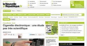 Cigarette électronique : une étude pas très scientifique sur lanouvellerepublique.fr