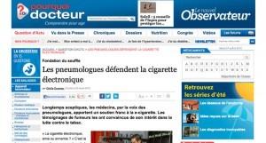 Les pneumologues défendent la cigarette électronique sur http://pourquoi-docteur.nouvelobs.com