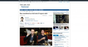 """""""L'interdiction des e-cigs n'est que provisoire s'il s'avère que la vapeur est plus sûre"""" titre le journal australien The Age."""