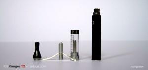 Le clearomizer Kanger T2 se compose de trois parties distinctes (drip-tip, résistance et tank).