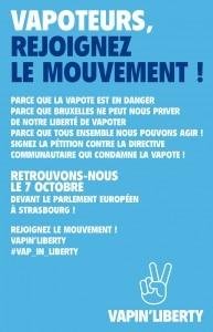 Affiche Vapin'Liberty pour la manifestation au Parlement européen, le 7 octobre à 12h00