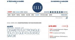 """""""Cigarette électronique : tout ce que vous devez savoir"""" sur le site Elle.fr"""