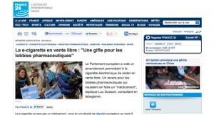 """""""La e-cigarette en vente libre : Une gifle pour les lobbies pharmaceutiques"""" sur France24.com"""