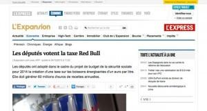 """""""Les députés votent la taxe Red Bull"""" sur L'Expansion"""