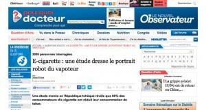 """""""E-cigarette : une étude dresse le portrait robot du vapoteur"""" sur le site du Nouvel Obs"""