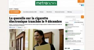 La querelle sur la cigarette électronique sur Metronews.fr