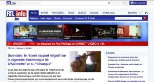 """Scandale: le récent rapport négatif sur la cigarette électronique lié à""""Nicorette"""" et au """"Champix"""" sur RTL.be"""