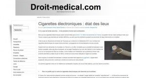"""""""Cigarettes électroniques : état des lieux"""" sur le site droit-medical.com"""