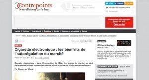 """""""Cigarette électronique : les bienfaits de l'autorégulation du marché"""" sur le site contrepoints.org"""