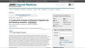 """""""Analyse longitudinale de l'utilisation de cigarette électronique et arrêt du tabac"""" sur jamanetwork.com"""