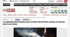"""""""La cigarette électronique avec nicotine devrait être vendue en Suisse, selon une étude"""" sur rts.ch"""