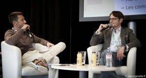 Ghyslain Armand à gauche et Phlippe Presles à droite, lors du salon Vapexpo de Bordeaux en mars 2014.