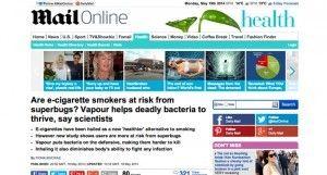 La vape et le staphylocoque doré en ligne de mire par une étude rapportée sur le journal Daily Mail.
