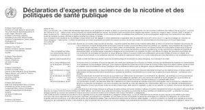 """""""Déclaration d'experts en science de la nicotine et politiques de santé publique"""" à lire sur le site de Jacques Le Houezec"""
