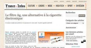 """""""Le filtre Ag, une alternative à la cigarette électronique"""" selon une parution de presse."""