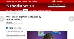 Une taxe sur les e-cigarettes en Caroline du Nord (NewsObserver)