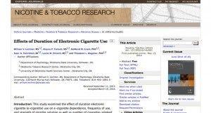 """L'effet d'une utilisation à long terme de l'e-cigarette sur le journal """"Nicotine and Tobacco research""""."""