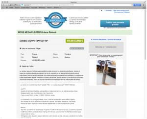 Exemple d'annonce : un combo Guppy+Bayou+Tip à 110 euros sur Vapokaz.fr