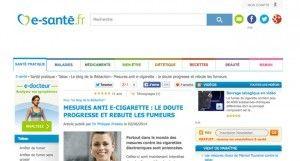 """""""Mesures anti e-cigarette : le doute progresse et rebute les fumeurs"""" sur e-sante.fr"""