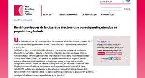 """""""Avis relatif aux bénéfices-risques de la cigarette électronique ou e-cigarette étendus en population générale"""" sur le site du HCSP"""