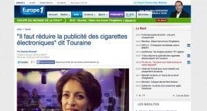 """""""""""Il faut réduire la publicité des cigarettes électroniques"""" dit Touraine"""" sur Europe 1"""