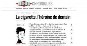 """""""La cigarette, l'héroïne de demain"""" sur Liberation"""