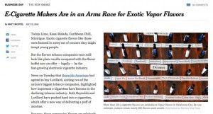 Les fabricants d'e-cigarettes en course pour les saveurs exotiques dans la vapeur sur Le New York Times