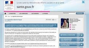 """Point sur """"la cigarette électronique"""" sur le site du Ministère de la Santé."""