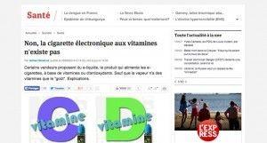 Non, la cigarette électronique aux vitamines n'existe pas En savoir plus sur http://www.lexpress.fr/actualite/societe/sante/non-la-cigarette-electronique-aux-vitamines-n-existe-pas_1571452.html#kDOXfQwYl4S2Y8MZ.99