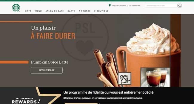 Le site Starbucks.fr