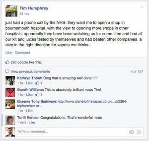 L'annonce de Tim Humphrey sur le groupe VapourMax