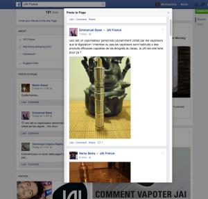 Capture d'écran de la page Facebook du produit JAI (Fontem Ventures / Imperial Tobacco).