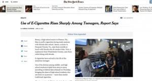 Un faux témoignage d'un adolescent vapoteur a été publié dans le New York Times.