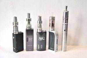 De gauche à droite : Vapor Shark, Hana Modz, Aspire ESP, SX Mini M Class, Provari P3
