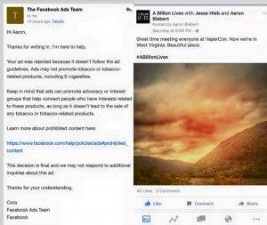 Capture d'écran de la réponse reçue par Aaaron Biebert de la part du service publicitaire Facebook.